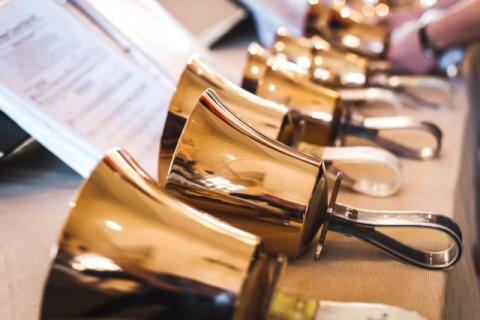 Handbells and sheet music